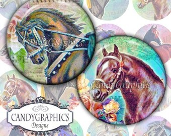 Vintage Horses - Digital Collage Sheet - 1 x 1 inch circles great for bottlecap and resin pendants - Buy 2 Get One FREE