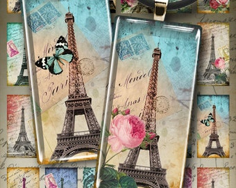TOUR EIFFEL - Digital Collage Sheet 1x2 inch size Paris images Printable download for domino and rectangle pendants, photo trays, magnets