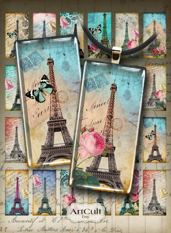 1x2 inch images TOUR EIFFEL print-it-yourself Printable Digital Collage Sheet for domino pendants magnets bezel settings photo trays ArtCult