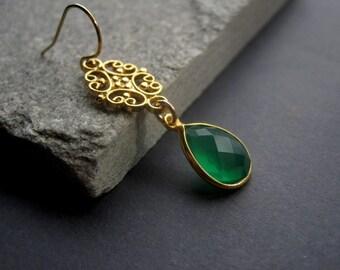 Green Onyx Earrings - Gold Green Onyx Earrings - Gold Filigree Earrings - Modern Gold Jewelry