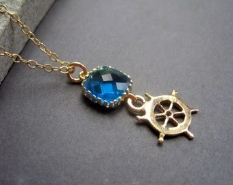 Gold Boat Wheel Necklace - Gold Ship Wheel Necklace - Gold Blue Glass Ship Necklace - Nautical Necklace -