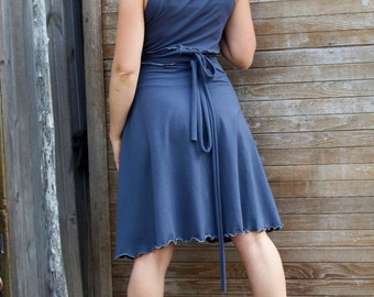 Short Summer Solstice Reversible Wrap Dress - Organic Clothing Made to Order - Many Colors