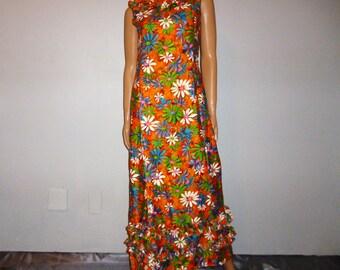 "DAISIE Mae - Vintage 60's - Ruffled - Hawaiian - DAISY - Floral - Novelty Print - Boho - Maxi - Dress - Bust 36"""