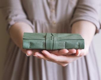 Leather Book - Sage Green - Handbound Leather Blank Journal - 6 x 4