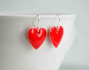 HEART Earrings RED Enamel Heart Sweetheart LOVE Valentine Gift
