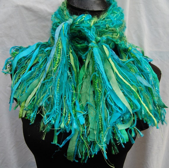 40% Off Sale Turquoise, Aqua, Lime & Bright Green Handmade Crochet Scarf