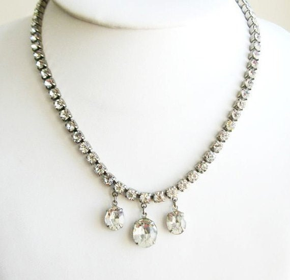 Vintage Coro Pegasus diamante necklace late 40s early 50s
