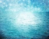 "Surreal Blue Ocean Photograph ""Under Paper Stars"" Starry Sky Photo - Dreamy Blue Sea Landscape - Nature Photography"