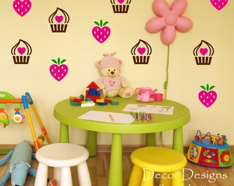 Strawberries and Cupcakes Vinyl Wall Decal Sticker
