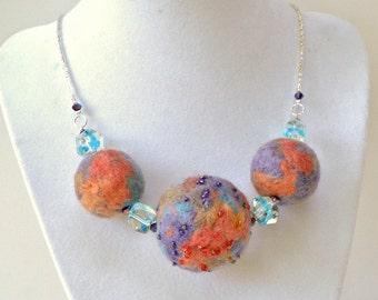 Necklace Multi Color Felt Beads