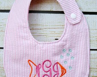 Unique monogrammed fish bib, Personalized bib, Monogrammed bib, Baby shower gift, Seersucker bib, You Customize