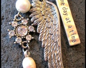 One Day at a Time   mixed metal necklace with angel wing