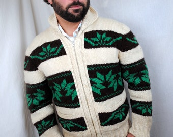 Vintage 60s Cowichan Cardigan Wool Sweater