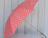 Vintage Pink Polka Dot Umbrella