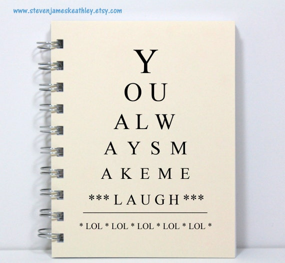 LOL Journal Notebook Diary Spiral Bound - Eye Chart Style - Small Notebook 5.5 x 4.25 Inches - Ivory