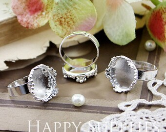Last - 50Pcs Nickel Free - High Quality 18mm (15mm) Adjustable Silver Plated Brass Crown Ring Base (HJ140)--Clearance Sale