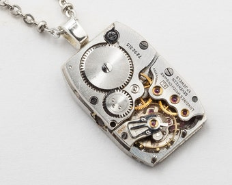 Steampunk Necklace Vintage Rare Longines tank watch movement unisex silver pendant Industrial Steampunk jewelry gift by Steampunk Nation