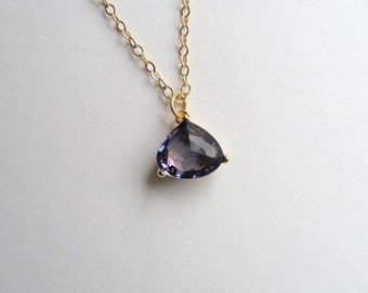 Simple purple trilliant tear drop stone necklace on 14k gold plated chain, faux amethyst
