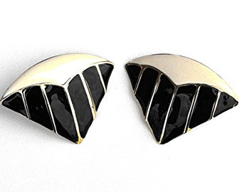 1960's Geometric Trangle Earrings Mid Century Black, White, and Gold Striped Geometry Lines and Shapes Retro Art Deco Fan Statement Jewelry