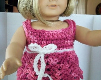 "American Girl and similar 18 inch doll: pinks and white fashion babydoll ""Smock"" top, pullover"