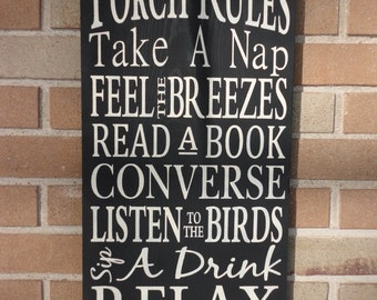 "Porch Rules Sign,Primitive wood Sign,Porch Decor,Home Decor,Typography Sign,DAWNSPAINTING,Black,Rustic,Country Sign, 12"" x 24"""