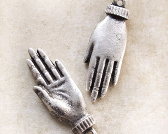 Healing Hand Hamsa Charm Pendant, Silver Plated Greek Mykonos Casting Metal jewelry craft supplies (1-2 pcs)