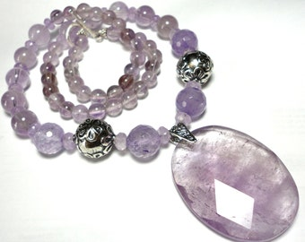 Amethyst Necklace Sparkly Faceted Clear Lavender Amethyst Large Oval Faceted Amethyst Pendant and Necklace with Sterling