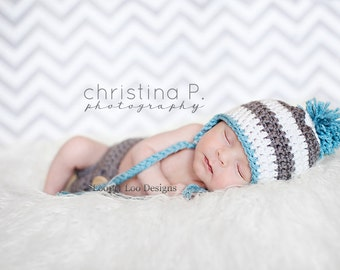 Earflap Crochet Hat, baby boy, newborn photo prop, Earflap Hat, Baby Girl, handmade -Sizes NEWBORN to 12 MONTHS -more color options