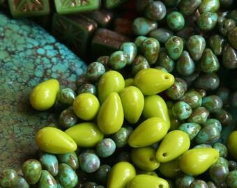 9x6mm Teardrop Beads - Czech Glass Beads - Jewelry Making Supply - 6x9 Tear drop Beads Opaque Chartreuse Green (30 pieces)