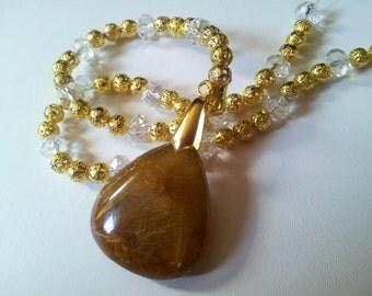 Gold Quartz Crystal necklace rare