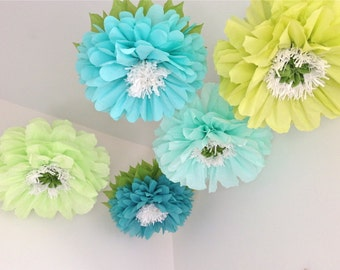 FRESH CUT. 5 Giant Hanging Paper Flowers, baby shower decorations, cake smash prop, dessert table, birthday party, nursery, bridal shower