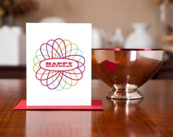 Spirograph Colorful Modern Birthday Card (100% Recycled Paper)