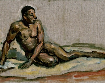 Male Nude Figure Painting, Seated. Original Oil Sketch on Canvas, Realist Figure Painting, Signed Original