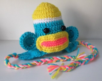 Funky SOCK MONKEY Hat...Neon colors...One of a Kind...0 to 3 month Boy or Girl....Colorful.....Braids..Ready to Ship...PHOTOGRAPHERS