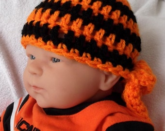 Knotted Headwrap...Harley Davidson.... Baby Boy or Girl...Newborn up to 6 Month...3 Sizes....BANDANA...Stripes...Black & Orange...PHOTO PROP