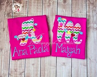 Love birds Alphabet Embroidered Shirt - Custom Shirt - Love Hearts Shirt - Baby Girl Shirt