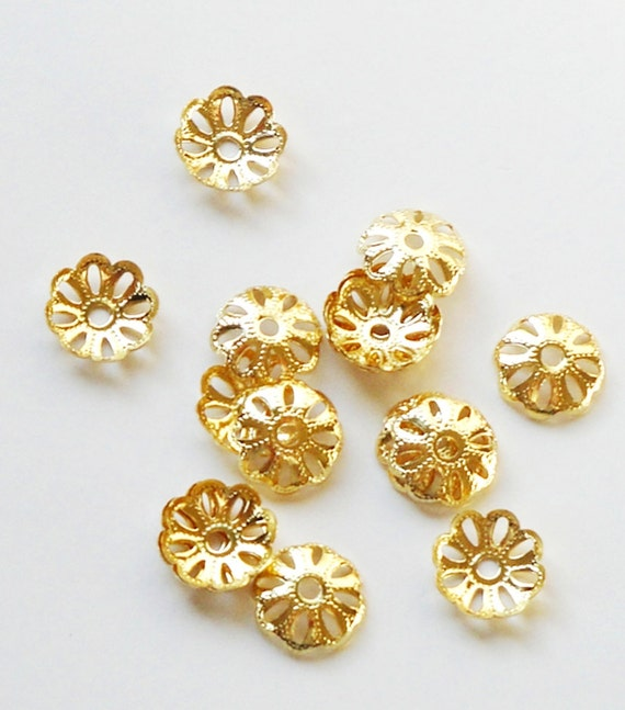 Gold Bead Bell Caps - Gold Daisy Flower Bead Caps - Round Spacers - (40) PCS - 10mm - Diy Craft Supplies - Gold Jewelry Metal Findings