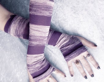 Purple Haze Arm Warmers - Violet Heather Pale Dove Grey Stripes Sweater Knit - Belly Dance Classic Yoga Bohemian Cycling Gaia Emo Vampire