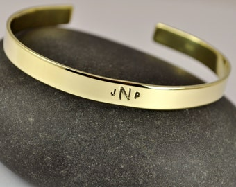Monogrammed Jewelry . ID Bracelet . Initials Name Bracelet . Personalized Hand Stamped Cuff . TB&Co