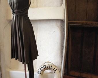 "Ready to Ship- Petite 28"" Short Seaweed Olive-Octopus Convertible Wrap Dress- bridesmaids, wedding, etc."