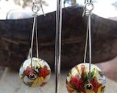 Red Flower Riveted Tin Bead Earrings