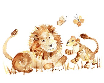 Watercolor Animal Print, Lion Nursery Art, Jungle Nursery Decor, Safari Nursery, Zoo Nursery, Kid's Wall Art, Baby Nursery Wall Art