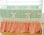 Mint and Peach Hope Chest Crib Bedding Set- OOP fabric- LAST ONE!