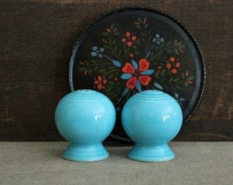 Vintage Pair Fiesta Turquoise Blue Salt and Pepper Shakers