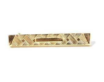 1960s Vintage Gold Geometric Bar Pin Brooch // Lapel Pin // Mad Men