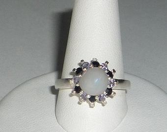 Natural Opal Ring Tanzanite & Onyx Sterling Silver .925