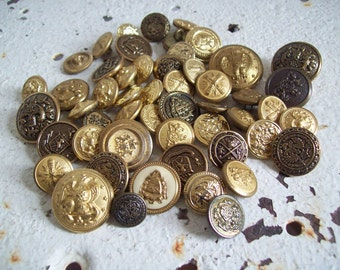 Vintage metal button lot crest and shield shanks over 4 dozen buttons Free shipping to USA