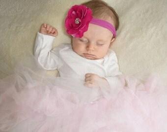 Magenta Baby Headband, Baby Headbands, Plum Flower Headband and Bows, Flower Girl Headband, Baby Girls Headband, 1st Birthday Photo Prop