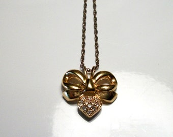 by WD Jewelry Gold Bow Designer Vintage Rhinestone Pendant Necklace Sweet Gift Ideas for her