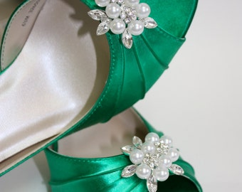 Emerald Shoes  - Green Shoes - Wedding Shoes - Green Bridal Shoe - Custom Shoe Color - Choose From Over 100 Colors - Choose Your Heel Height